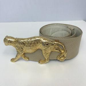 Judith Leiber Lizard Belt Cheetah Buckle Size ADJ